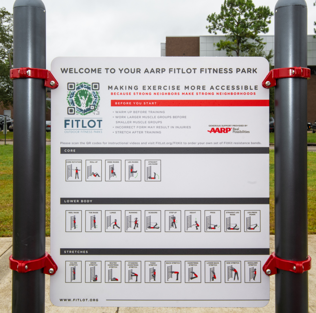 The welcome sign at the Fitlot Outdoor Fitness Park at Joe W. Brown Park in New Orleans, Louisiana