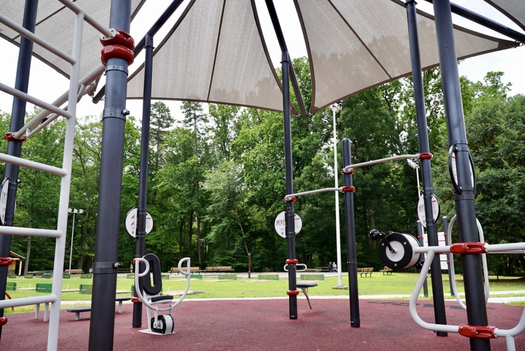 Close up photo of the equipment at the FitLot Outdoor Fitness Park in Winston-Salem, NC